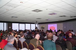 A wide shot of the intro speech at the beginning of ProductCamp 2013
